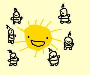 The Sun surrounded by human babies.