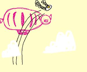 Fried egg flying over blimp pig's head.