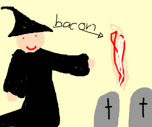 wizard throwing bacon in a graveyard