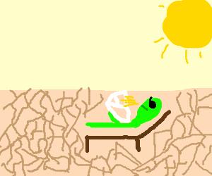 sunbathing alien