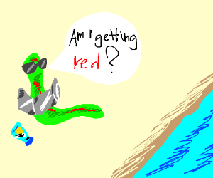 A green worm getting a tan