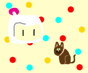 Bomberman and cat float in polka dot void