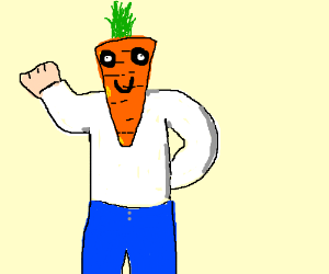 Man with carrot for a head