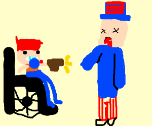 skrub gamer in wheelchair kills uncle sam drawing by merp films