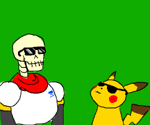 Papyrus tries to out-cool Pikachu.