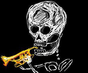 A spooky skeleton playing the trumpet