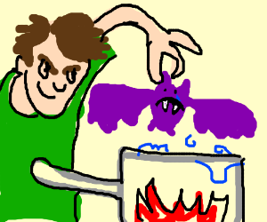 Guy cooking a Zubat