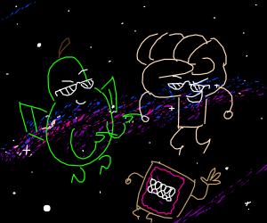Cool pearplane meets fist man & teethy poptart