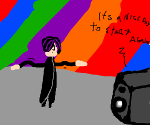 Emo Guy dancing to colorful music