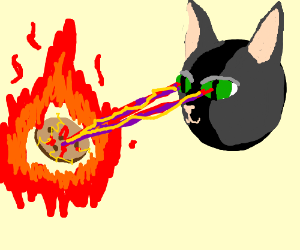 Cat lasers burning a cookie