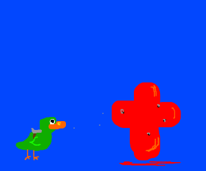 Green duck massacres red crosses with gun