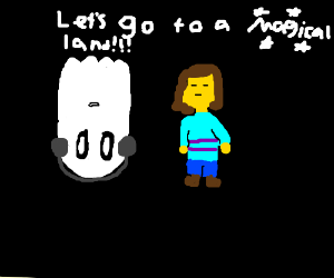 napstablook and frisk laying like trash