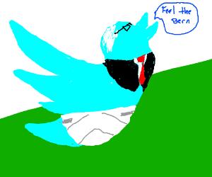 Birdie Sanders in a diaper.