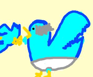 Diaper blue bird is gawking left