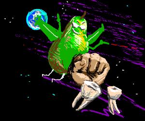 earth behind pear behind fist behind teeth
