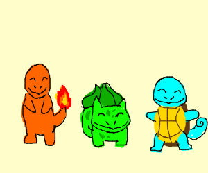Charmander, bulbasoar, and squrtle in a line