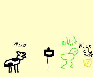 A Cow films a frog complimenting rare cheese.