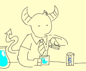 Satan peppers his water