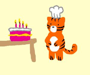 Tiger baking a cake
