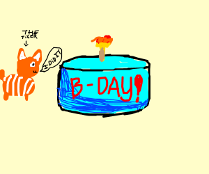 The tiger baked a birthday cake