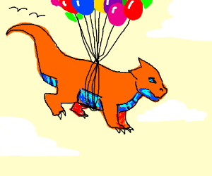 Wingless dragon achieves flight with balloons
