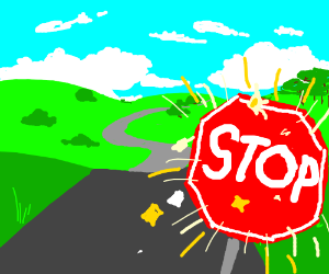 Sparkling stop sign on road