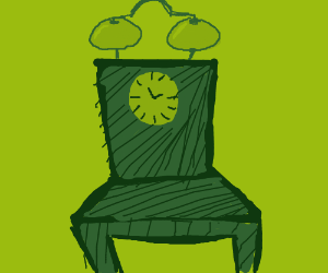 A chair is also an old alarm clock.