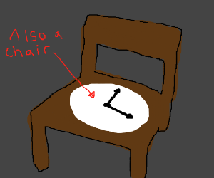 A chair that is a clock that is a chair