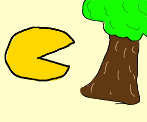 Pac man eating a tree.
