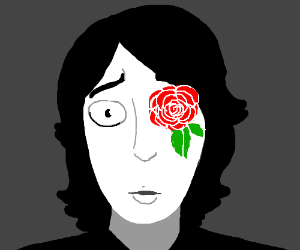 Concerned person with flower instead of an eye