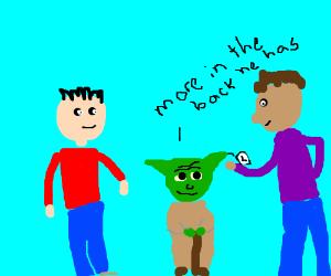 Man selling Yodas.