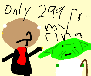 A salesman gives one of his earrings to Yoda