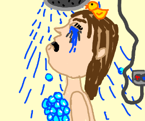Shower cry time with the rubber ducky