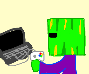 man with square melon head plays PC