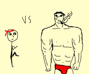 Battle with a muscular man