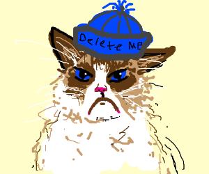 Meme so tired of itself wears hat 'Delete Me'