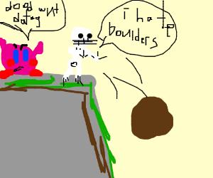 Skeleton pushes kirbys bolder down hill