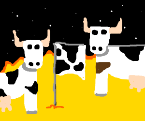 The sun is conquered by cows.