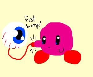 Eyeball and Kirby fistbump