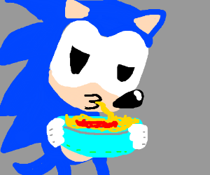 sonic eats spaghetti to get faster