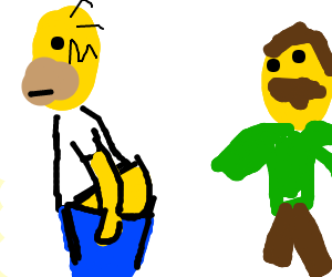 Homer simpson showing his ass to another guy