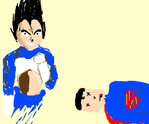 Vegeta vs supperman. VEGETA WINS