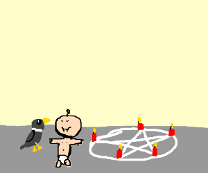 a dove and a baby at a satanic ritual