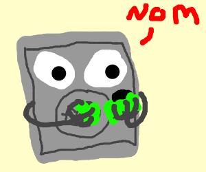 Vault boy eating green stuff