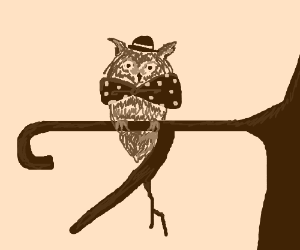 owl with bowtie sitting on branch