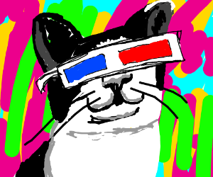psychedelic physicist old cat sees 3D