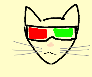 Cat watching a 3D movie.