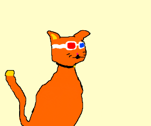 cat with 3D sunglasses