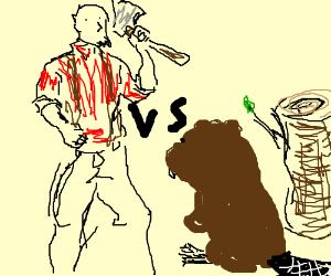 Lumberjack vs. beaver + log