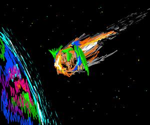 bird rides asteroid crashing to earth